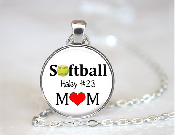 Personalized SOFTBALL MOM necklace or Key Chain - softball pendant with player's name and number - softball mom pendant - Bobby Sox - Jill Campa Designs - Now That's Personal!