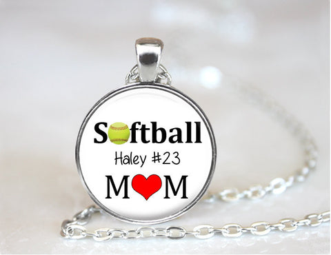 Personalized SOFTBALL MOM Necklace or KeyChain