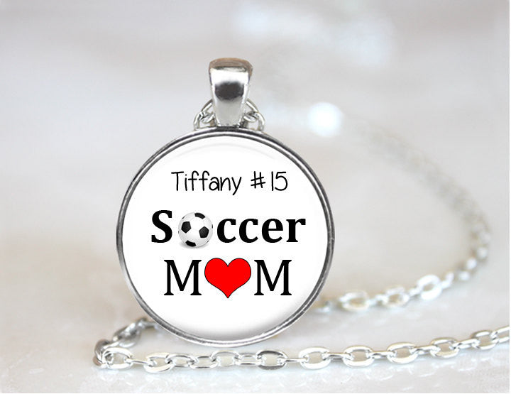 Personalized SOCCER MOM pendant or Key Chain with player's name and number - soccer mom - handcrafted pendant necklace - soccer jewelry - Jill Campa Designs - Now That's Personal!  - 1
