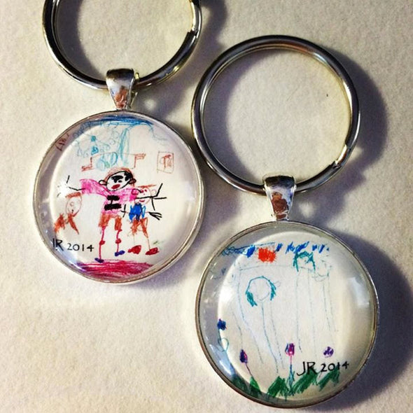 Your Child's Artwork Necklace - Children's Artwork Pendant Necklace  - Your Child's Art - Children's art - Father's Day gift - key chain - Jill Campa Designs - Now That's Personal!  - 2