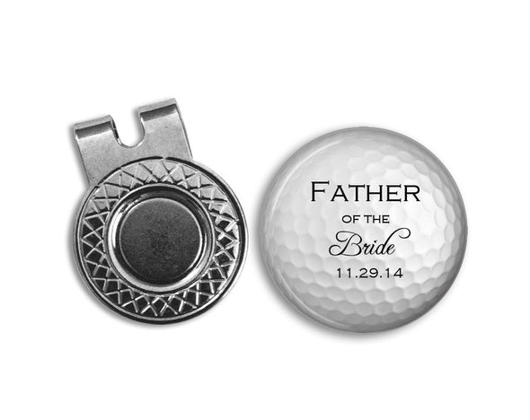 Magnetic Golf Ball Marker and hat clip set - FATHER of the BRIDE with Wedding date - golf ball marker - gift for Dad - Wedding - Bride - Jill Campa Designs - Now That's Personal!