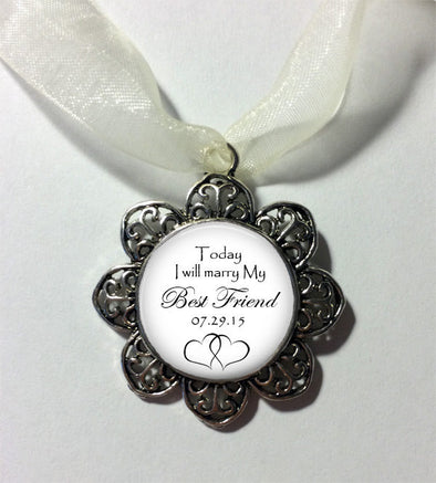 Wedding Bouquet Charm - Today I will marry my BEST FRIEND - Bridal Charm with date - Bridal Bouquet Charm -  In Memory Charm - Bouquet Charm - Jill Campa Designs - Now That's Personal!