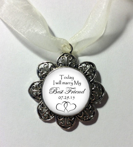 Wedding Bouquet Charm - Today I will marry my BEST FRIEND - Bridal Charm with date - Bridal Bouquet Charm -  In Memory Charm - Bouquet Charm