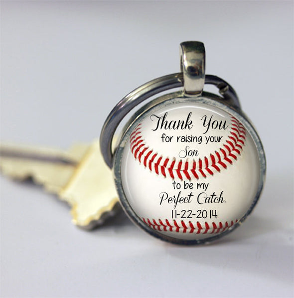 "Gift for Father of the Groom - Personalized BASEBALL key chain with wedding date - ""Thank you for raising your son to be my perfect catch"" - Jill Campa Designs - Now That's Personal!"