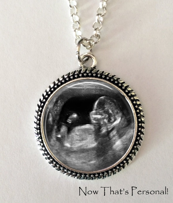 Sonogram Necklace, Ultrasound Pendant - Pregnancy Gift , New Baby - Jill Campa Designs - Now That's Personal!  - 3