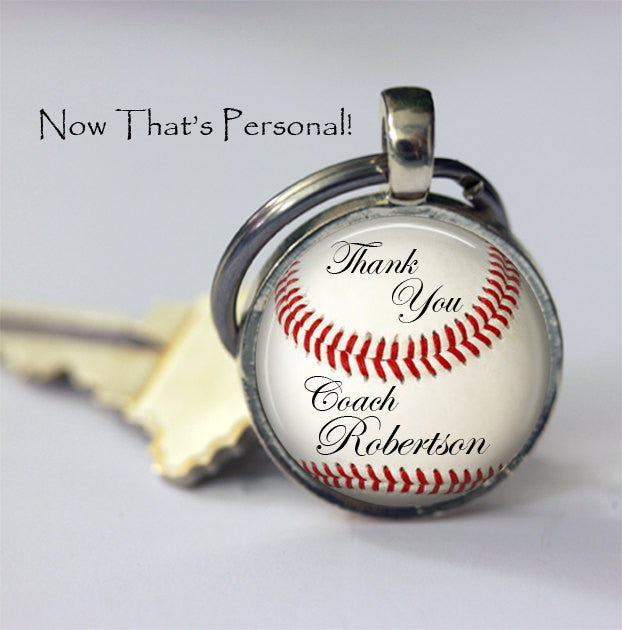 CUSTOM BASEBALL KEYCHAIN - Thank you Coach - Personalized with your Coach's name - Unique Gift for Baseball Coach - baseball  key chain - 25 mm - Jill Campa Designs - Now That's Personal!