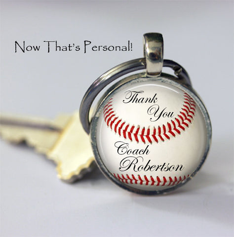 CUSTOM BASEBALL KEYCHAIN - Thank you Coach - Personalized with your Coach's name - Unique Gift for Baseball Coach - baseball  key chain - 25 mm