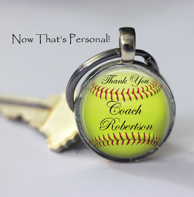 CUSTOM SOFTBALL KEYCHAIN - Thank you Coach - Personalized with your Coach's name - Gift for Softball Coach - softball key chain - 25 mm - Jill Campa Designs - Now That's Personal!
