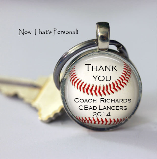 Custom BASEBALL Keychain - Thank you Coach - Personalized with your Coach's name, TEAM NAME and year - Gift for Baseball Coach - baseball - Jill Campa Designs - Now That's Personal!  - 1