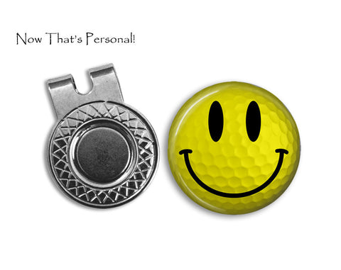 Magnetic Golf Ball Marker and hat clip set - Smiley Face - Yellow Smiley Face Golf Ball - Gift for golfer - gift for Dad - Golf Ball Marker