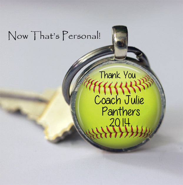 "CUSTOM SOFTBALL Key Chain - ""Thank you Coach"" - with your Coach's name, Team Name and year - Gift for Softball Coach - softball key chain - Jill Campa Designs - Now That's Personal!"