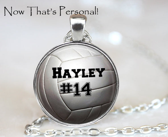 VOLLEYBALL  NECKLACE  with player's name and number - Personalized Volleyball necklace - Volleyball Player gift - sports jewelry - Jill Campa Designs - Now That's Personal!  - 1