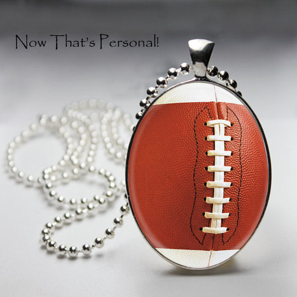 FOOTBALL NECKLACE - Oval pendant - Football pendant - Football Mom - Football Fan - Silver Football necklace - Jill Campa Designs - Now That's Personal!  - 1