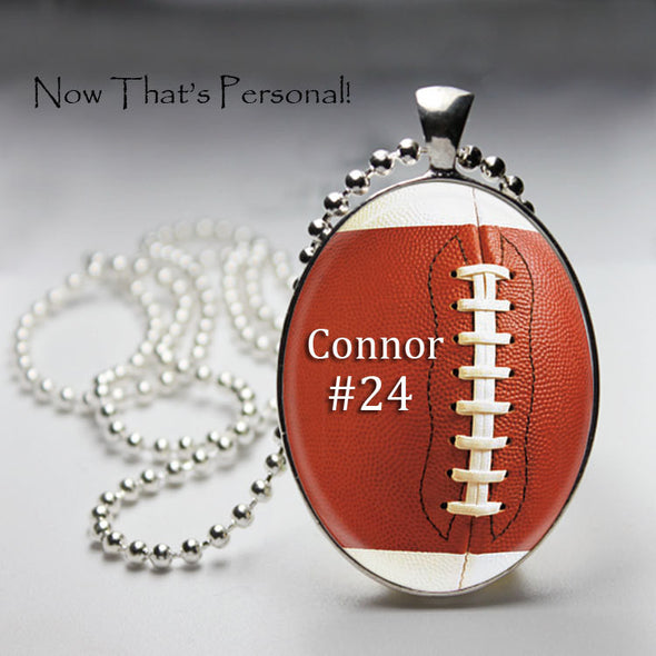 PERSONALIZED FOOTBALL NECKLACE - player's name and number - Oval pendant - Football pendant - Football Mom - Football Fan necklace - Jill Campa Designs - Now That's Personal!  - 1