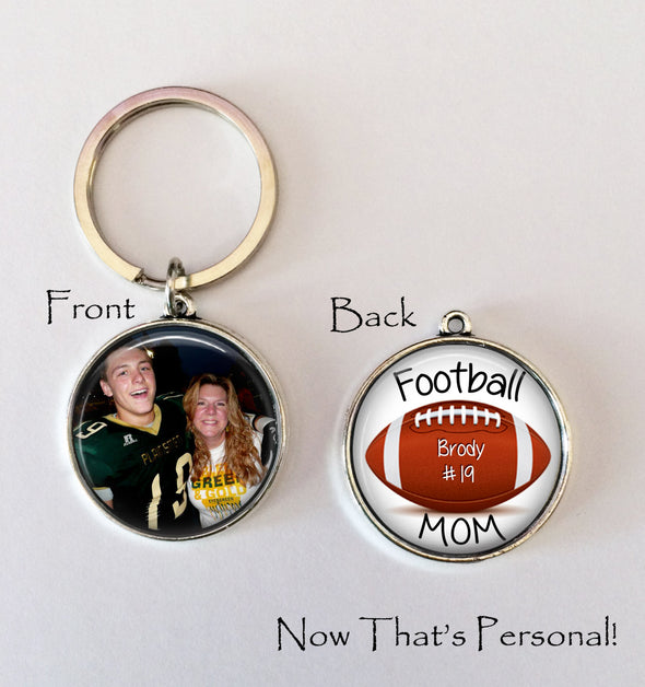 PERSONALIZED FOOTBALL MOM Keychain - Your player's name and number on one side - Your Photo on one side - custom photo keychain - Football - Jill Campa Designs - Now That's Personal!