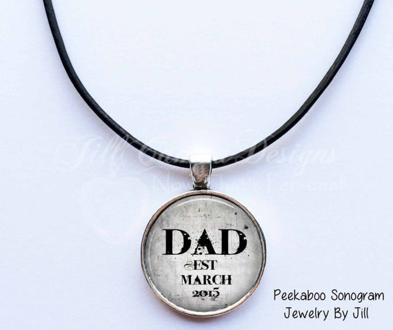 "Dad necklace - ""Dad"" EST - personalized with Month and year - Jill Campa Designs - Now That's Personal!"