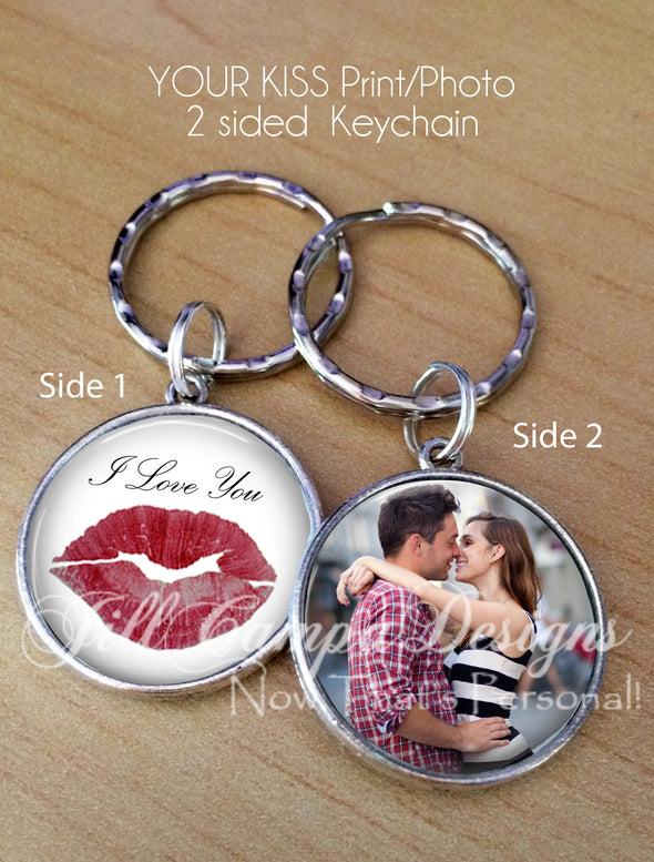 Kiss Print and Photo keychain - Your actual kiss print - Jill Campa Designs - Now That's Personal!