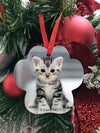 Pet Photo Christmas Ornament - Aluminum paw print ornament - doube sided