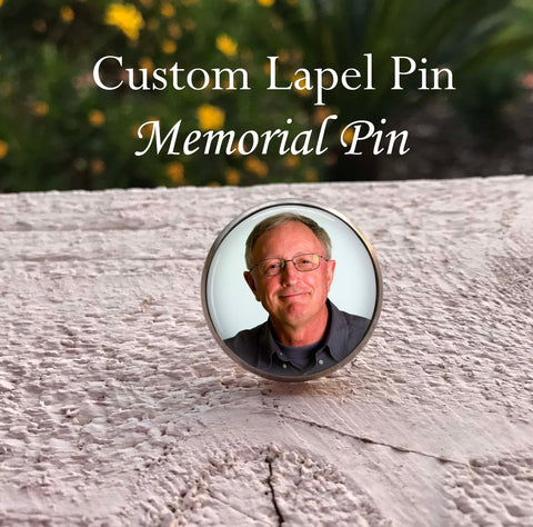 Memorial Lapel pin - In Memory of - custom photo memorial pin