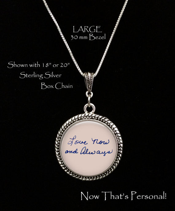 LARGE Custom Handwriting necklace - Jill Campa Designs - Now That's Personal!  - 1