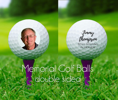 MEMORIAL GOLF BALLS - memorial photo golf balls - still golfing in heaven
