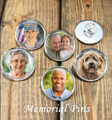 Memorial Lapel pins for funeral, memorials, weddings - In Memory of - photo memorial pin