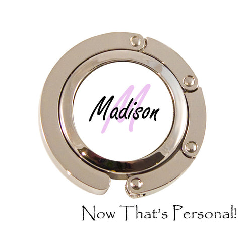 Purse Hanger with Monogram Letter and name - Personalized purse hanger - folding purse hanger - personalized gift, bridesmaid gift