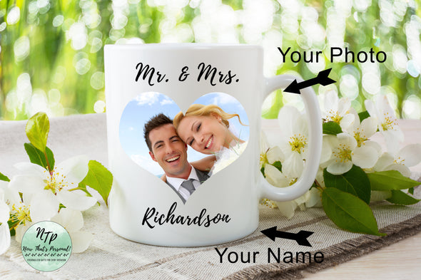 Mr. and Mrs. coffee mug personalized with your last name