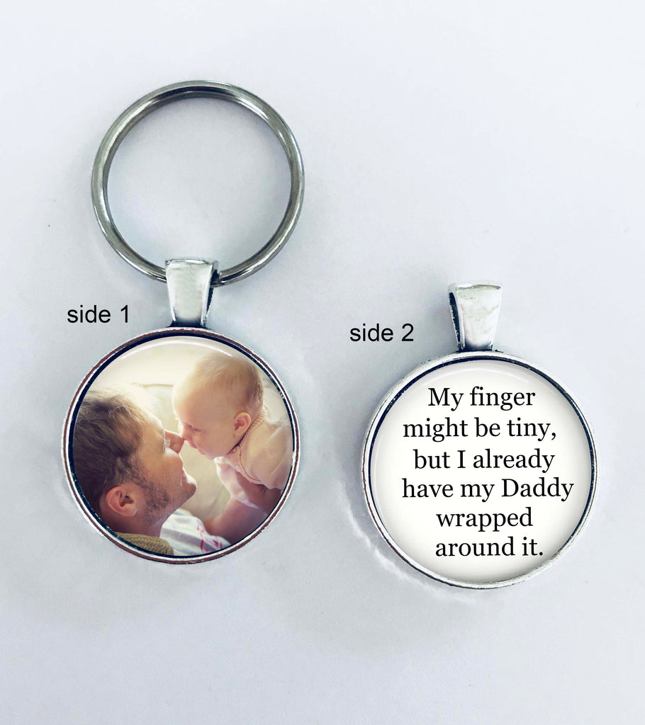 Gift for new Daddy, Dad, custom photo keychain
