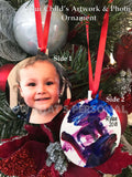 Aluminum Christmas ornament - Child's Artwork and Photo Christmas Ornament