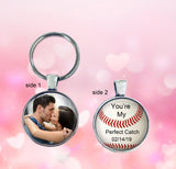 Personalized Double Sided Baseball Photo Keychain - anniversary, wedding