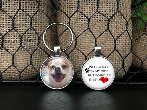 DOG MEMORIAL KEYCHAIN - Your dog's photo on one side