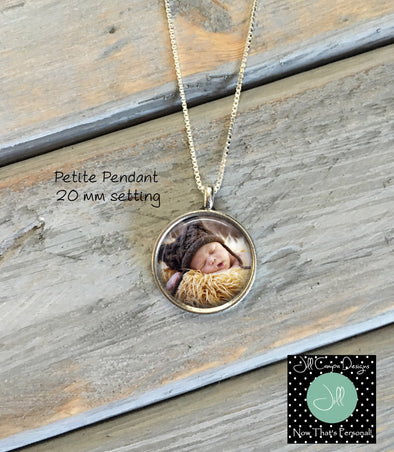 Petite Photo Necklace, Baby Photo Pendant - Pregnancy Gift - Baby Shower Gift - Jill Campa Designs - Now That's Personal!