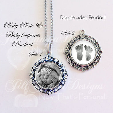 BABY FOOTPRINT NECKLACE - your Baby's actual footprints and photo - Jill Campa Designs - Now That's Personal!  - 1