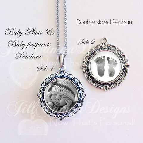 BABY FOOTPRINT NECKLACE - your Baby's actual footprints and photo
