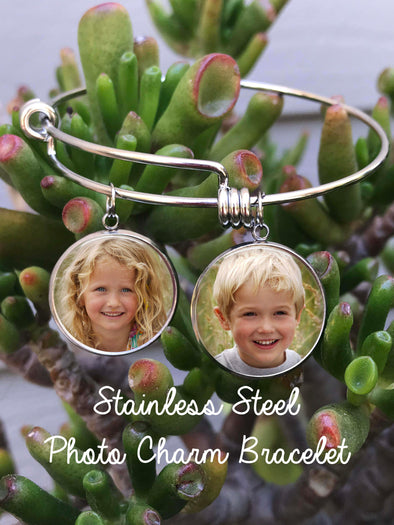 Custom photo charm bracelet - single sided charms