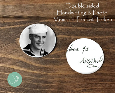 Memorial Pocket Token - handwriting and photo - memorial coin