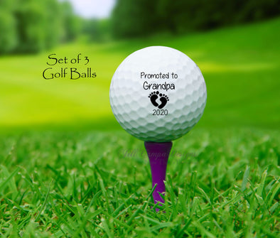"GOLF BALLS, ""Promoted to Grandpa"" - Baby announcement"