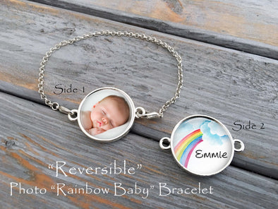 Rainbow Baby Bracelet, reversible bracelet, sonogram, baby photo
