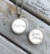 Reversible necklace with two handwritten messages
