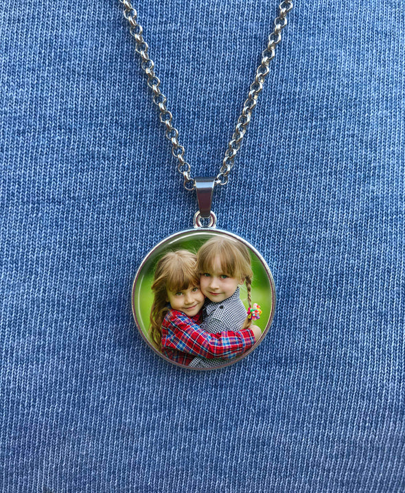 Custom handwriting necklace, photo and handwriting - double sided