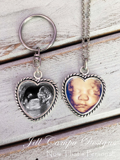 SONOGRAM necklace and key chain SET, rope heart design - Jill Campa Designs - Now That's Personal!