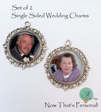 Bridal bouquet charms - set of two custom photo wedding bouquet charms - Jill Campa Designs - Now That's Personal!  - 2