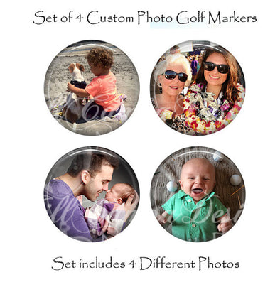 Personalized Golf Ball Markers - set of 4 different golf ball markers - Your Photo on a Golf Ball Marker - magnetic golf ball marker, Golfer gift - Jill Campa Designs - Now That's Personal!