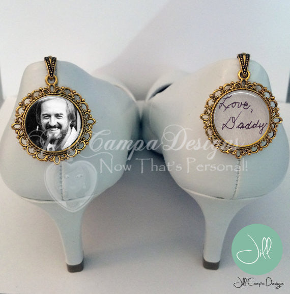SET of 2 memorial wedding shoe charms - bridal bouquet charm - Jill Campa Designs - Now That's Personal!  - 2