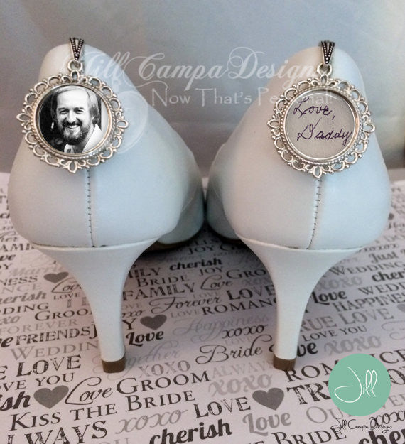 SET of 2 memorial wedding shoe charms - bridal bouquet charm - Jill Campa Designs - Now That's Personal!  - 1