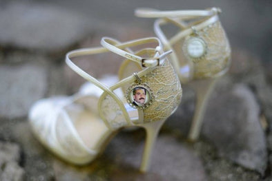 SET of 2 memorial photo wedding shoe charms - bridal bouquet charm