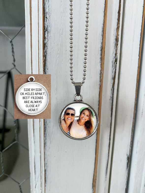 BEST FRIENDS GIFT - double sided necklace - Side by Side or Miles Apart