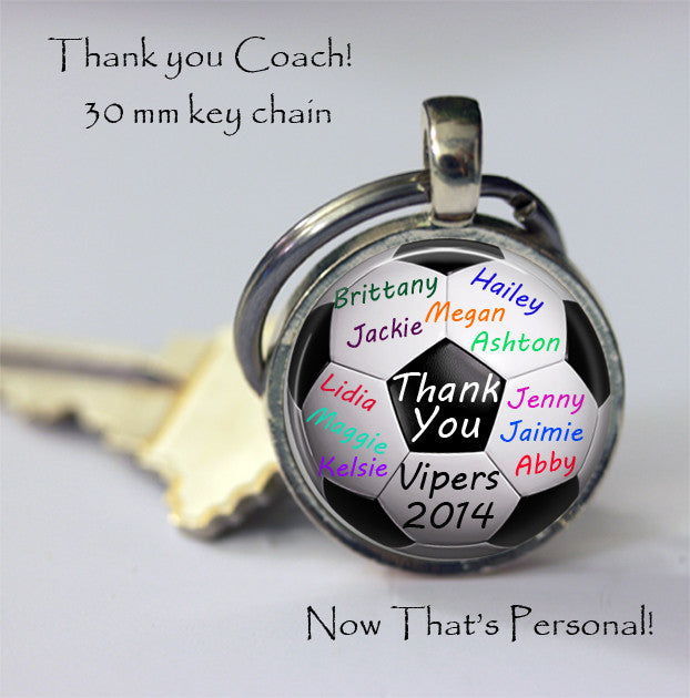 "PERSONALIZED SOCCER BALL key chain - gift for soccer coach from team ""signed"" by team players - team name and year - Gift for Soccer Coach - Jill Campa Designs - Now That's Personal!"