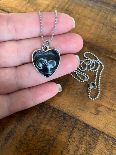 Petite heart shaped sonogram necklace
